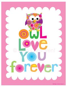 Kids Wall ArtOwl love you forevernursery decor by EllenCrimiTrent, $18.00