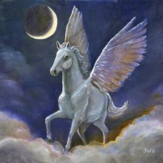 pegasus   Pegasus New Moon Painting by Joyce Gibson - Pegasus New Moon Fine Art ...