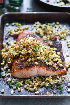 Blackened Salmon with Corn, Bacon, and Jalapeño