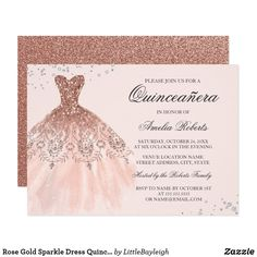 Rose Gold Pink Sparkle Dress Quinceanera Invitation you can personalize online in just a few minutes to create an elegant and affordable party invitation with a gorgeous dress illustration. Source by quinceanera Quinceanera Dresses, Invitations Quinceanera, Quince Invitations, Quinceanera Planning, Sweet Sixteen Invitations, Glitter Invitations, Quinceanera Party, Birthday Invitations, Masquerade Invitations