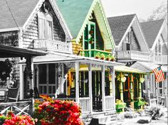 Martha's Vineyard in black and white with a few accents