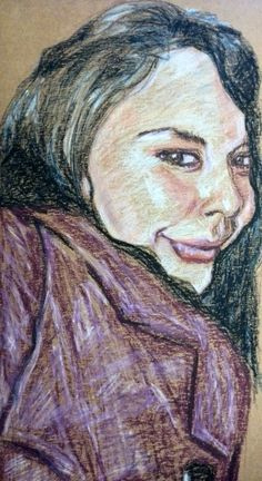 """This is a portrait study of my beautiful friend that I tried with oil pastels on cardboard. It worked surprisingly well and I love how the cardboard makes the sketch """"pop"""""""