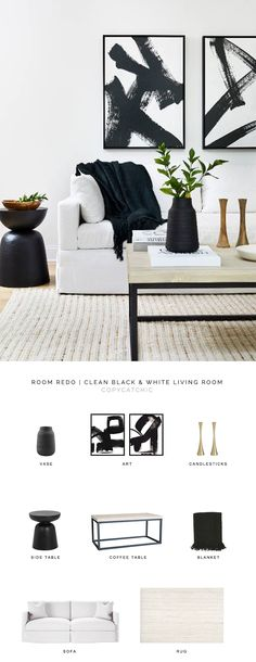 black and white living room look for less copycatchic luxe living for less budget home decor and design daily finds home trends sales budget travel and room redos Black And White Living Room Decor, White Room Decor, White Rooms, Living Room Grey, Living Room Interior, Living Room Furniture, Decor Room, Bedroom Black, Room Decorations