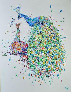 Peafowls. Watercolour painting. Original por AnaEnsh en Etsy