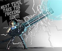 """Shooting a giant railgun at a giant monster is therapeutic . Resident Evil Franchise, Resident Evil 3 Remake, Resident Evil Game, Batman Comic Art, Gotham Batman, Batman Robin, Funny Video Game Memes, Dino Crisis, Evil Art"