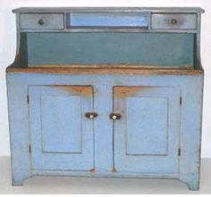 Pine PA High Back Dry Sink old blue paint