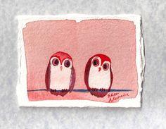 Be Mine  original watercolor owl painting by ElissaSueWatercolors, $15.00