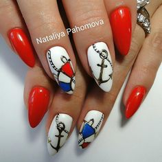 Nautical Stiletto Nails With Anchor⚓