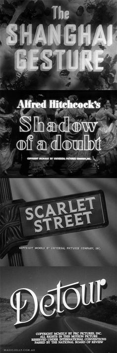 I love old movies, particularly Film Noir. Here are some screenshots from DVDs in my collection - all of these are great films. Classic Film Noir, Classic Films, Lettering, Typography, Dramas, Picture Company, Love Film, Title Card, Film School