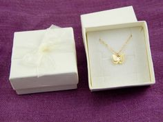 Small gold butterfly charm necklace tiny butterfly by Omoroka