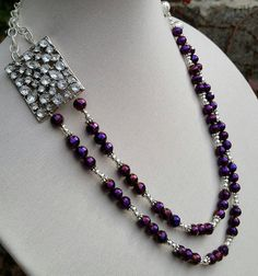 Double stranded purple/plum crystal necklace/ by ILoveBeads247
