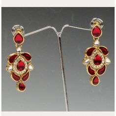 Stone With Maroon Color Earrings By Swarajshop