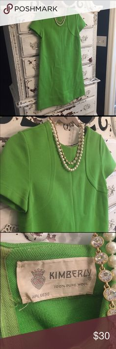"Mod Vintage bright green wool shift dress In excellent condition.  Has back button details. Measures 17"" armpit to armpit, 36.5"" length from shoulder to hem. Vintage Dresses Midi"