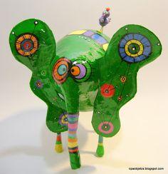 Opa! objetos de papel maché y cartapesta: Elefante verde