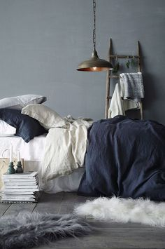 A touch of trendy shabby chic for the small bedroom in blue and gray