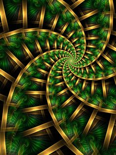 Fractal thingy 432 Why? The colour scheme reminds me of coconut trees. Coconut Palms and Sunlight Fractal Images, Fractal Art, Fibonacci Spiral, Visionary Art, Sacred Geometry, Geometry Art, Textures Patterns, Fractal Patterns, Green And Gold