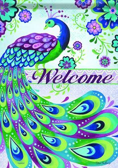 Carson Home Accents FlagTrends Classic Garden Flag, Peacock Welcome