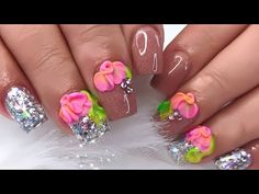 You Should Experience Acrylic Flower Nail Art At Least Once In Your Lifetime And Heres Why Diy Acrylic Nails, Toe Nail Art, 3d Nails, Pink Nails, Ombre Nail Designs, Creative Nail Designs, Creative Nails, Nail Art Designs, Flower Toe Nails