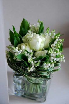 Gorgeous Wedding Bouquet Arranged With: White Peonies, White Lily Of The Valley, Green Lily Grass Loops, Green Lily Of The Valley Foliage ~~
