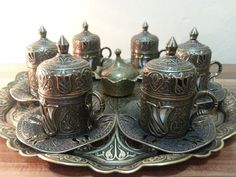 This set, bear the traces of lasting hand workmanship of Ottoman Empire. High quality metal parts. 100% Made in Turkey   1 x Sugar bowl 6 x Coffee