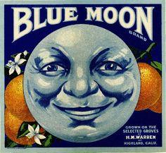 Highland Blue Moon Orange Citrus Fruit Crate Box Label Art Print. $9.99, via Etsy.
