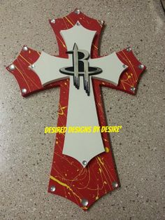 Houston Rockets Stacked Wooden Cross with by DesiredDes on Etsy, $38.00