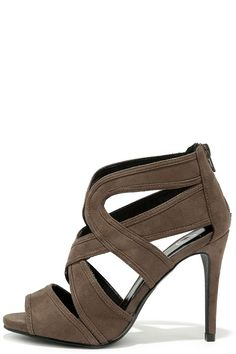 4d2bf374c For You I Will Dark Taupe Suede Caged Heels