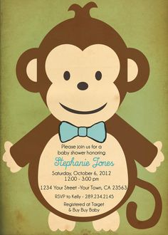Free printable monkey baby shower invitation templates cute baby jungle baby boy monkey shower invitation i by pinkpaisleydesigns1 1000 filmwisefo Image collections