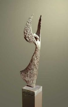 Bronse/coatedsteel/arduin, naturalstone Spiritual sculpture by artist Hans Grootswagers titled: 'Watching over you' £6,000