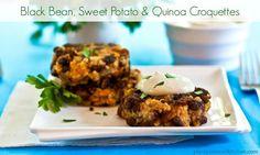 Black Bean Sweet Potato & Quinoa Croquettes with Pumpkin Seed Chipotle Cream - vegan, gluten-free Vegan Quinoa Recipes, Best Vegan Recipes, Vegan Food, Food Food, Healthy Food, Eating Vegan, Keto Recipes, Favorite Recipes, Healthy Recipes