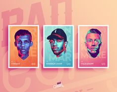 Neon Artist is a personal project that consist of 7 portrait of musician I like: Stromae, Kendrick Lamar, Macklemore, M.I.A., Alicia Keys, Drake & Lana Del Rey I created a poster based on each portrait, with a unique theme and color scheme.
