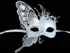 Stunning!! Dream Butterfly Laser Cut Venetian Masquerade Mask with Venetian Details - Made of Light Metal and Paper Mache [White] on Etsy, $69.95