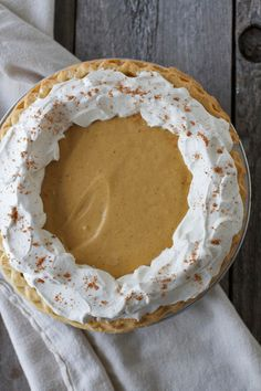 Gingerbread Cream Pie...The crazy thing about this Gingerbread Cream Pie is that it actually tastes like a soft and sweet gingerbread cookie in pie form. Yum!!