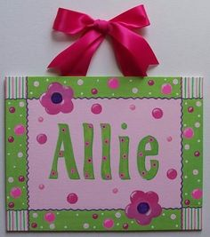 Hot Pink Lime Green Dots Custom canvas letter name sign wall art hand painted flower. $40.00, via Etsy.