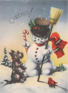 Snowmen and Scottie dogs are one of my favorite combinations for vintage cards!