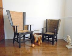 Orkney Chair Fanback Scottish Beach House Wicker by owlsongvintage, $825.00