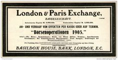 Original-Werbung / Anzeige 1905 - BÖRSENOPERATIONEN / BASILDON HOUSE BANK LONDON  ca. 180 x 90 mm