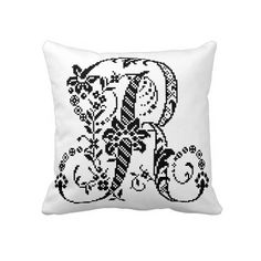 Decorative Pixel Monogram Pillow with #Chevron pattern back by #wrkdesigns...more #monograms coming soon.