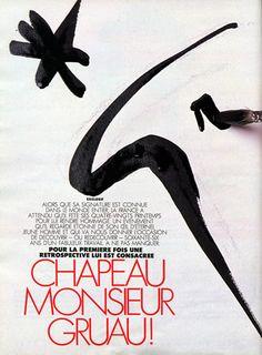 René Gruau 1989 ''Chapeau Monsieur Gruau'' 9 Pages Article, Hats