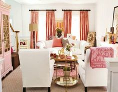 Do not be a wallflower. Pull your furniture arrangement away from the walls. Lining sofas along walls only emphasizes the length of the room.