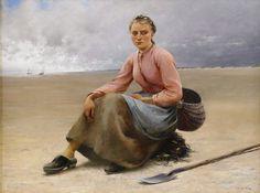"August Hagborg 1852-1921 Suédois    Girl gathering oysters.. ""Ostronplockerska Bretagne """