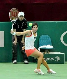 #3-Seed Carla Suarez Navarro upset by Camila Giorgi in the SFs. Camila wins 7 - 6 (2), 6 - 4 to advance to her first 2014 Katowice Open FINALS. 4/12/14