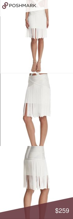NWT Herve Leger Haylen Draped Bandage Skirt M HERVE LEGER HAYLEN DRAPED BANDAGE SKIRT $1,140.00 SIZE M 6/8 - BRAND NEW WITH TAGS #HWT3F898-9O2   100% Authentic Purchased Directly from Manufacturer   Individually knit bandages have been hand-trimmed and engineered to hang in perfectly aligned patterns, bringing statement appeal to a timeless design.   Concealed back zipper closure Self: Rayon, Nylon, Spandex. Contrast: Rayon. Dry Clean. Banded waistline.High-rise.Hits at the knee.Slight…