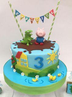 Torta de George pig Cumple George Pig, George Pig Cake, George Pig Party, Tortas Peppa Pig, Fiestas Peppa Pig, Peppa Pig Birthday Cake, 2nd Birthday, Aniversario Peppa Pig, Threenager