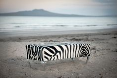 A beautiful zebra print cowhide ottoman by Gorgeous Creatures with Queen Anne legs. Made to order.