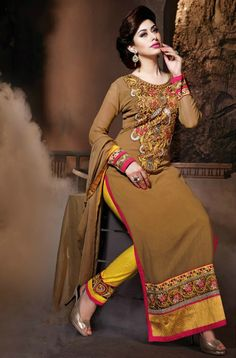 Brown Georgette Embroidered Salwar Suit