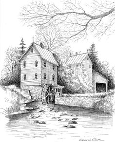 River Mill 10.5 x 13 Hand Signed Limited Edition - World Famous Award Winning Artist Steven W. Schultz - Pen & Ink Landscape Art Print