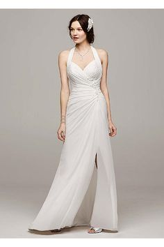 Chiffon Halter Wedding Dress with High Slit WG3482