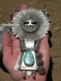 Signed Rare Huge Heavy Vintage Indian HOPI KACHINA NECKLACE - Old Dead Pawn - Thomas Byrd