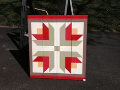 "My Barn Quilts are made from 1"" x 6"" western red cedar boards (sanded to about 9/16"" x 5-1/2"").  They are hand painted with Acrylic paints and top coated with a UV protected outdoor spar urethane.  Finished size 21x24"